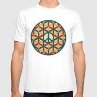 Peace Geometric Circles Mens Fitted Tee White SMALL