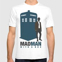 MAD MAN With A Box Mens Fitted Tee White SMALL