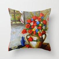 Hungarian Poppies Throw Pillow