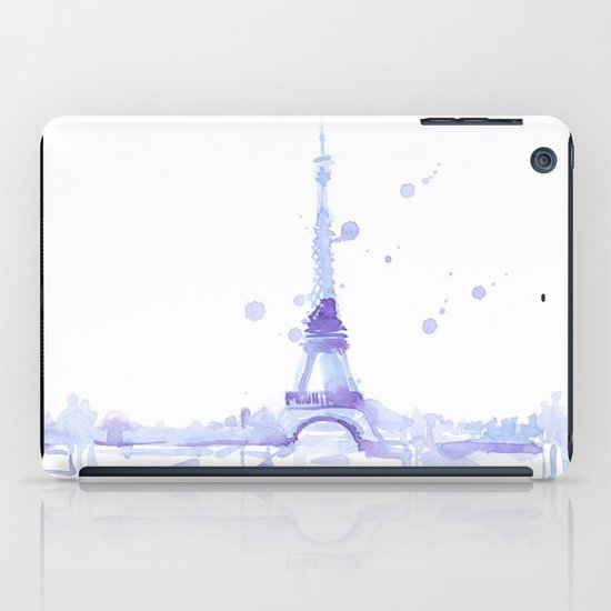 Watercolor landscape illustration_Eiffel Tower iPad Case