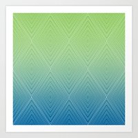 Diamonds (GreenFlashSnorkelBlue Fade) Art Print