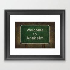 Welcome to Anaheim, roadside sign illustration Framed Art Print
