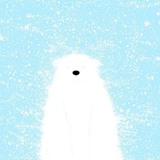 Its A Polar Bear Blinking In A Blizzard - Blue Art Print