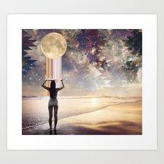 Moonrise Surf Session  Art Print