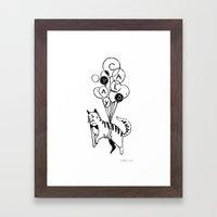 Cat Lady (Black and White) Framed Art Print
