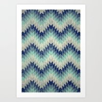 Chevron pattern_Blue Art Print