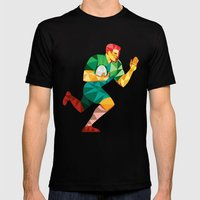 Rugby Player Fend Off Low Polygon Mens Fitted Tee Black SMALL