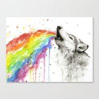 Wolf Rainbow Watercolor Canvas Print