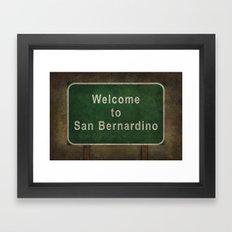 Welcome to San Bernardino roadside sign illustration Framed Art Print