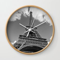 Eiffel Tower - Black and White Wall Clock