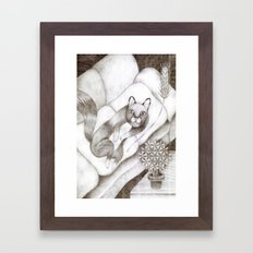 Cat lying on the sofa Framed Art Print