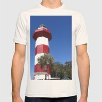 Habour Town Lighthouse Mens Fitted Tee Natural SMALL