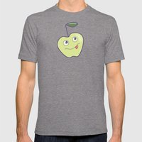 Smiling Green Cartoon Apple Mens Fitted Tee Tri-Grey SMALL