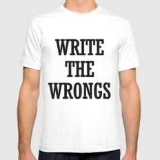 WRITE THE WRONGS Mens Fitted Tee SMALL White