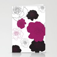 Black and Pink Roses on White Stationery Cards
