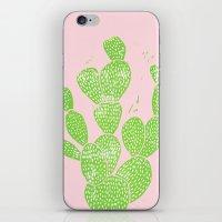 Linocut Cacti #1 Minty Pinky iPhone & iPod Skin