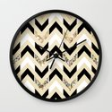 Black, White & Gold Glitter Herringbone Chevron on Nude Cream Wall Clock