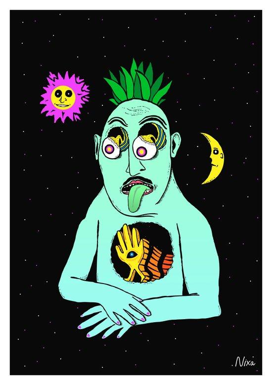 Trippy Face Art Print