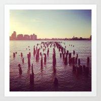 Dock At The Hudson Art Print