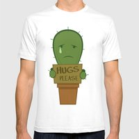Hugs Please Mens Fitted Tee White SMALL