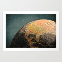 Where I Am (Vintage Glob… Art Print