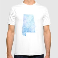 Typographic Alabama - Blue Watercolor map art Mens Fitted Tee White SMALL