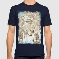 Reflection on  'Second Hand Flood Newz' Mens Fitted Tee Navy SMALL