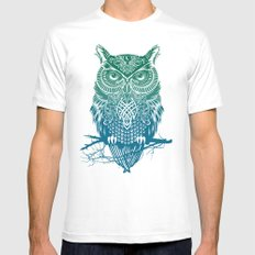 Warrior Owl Mens Fitted Tee SMALL White