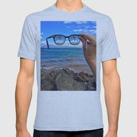 Hawaii Sunglasses Palmtrees Mens Fitted Tee Athletic Blue SMALL