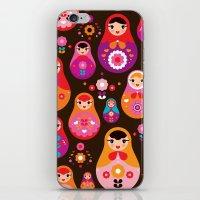 Russian Dolls illustration pattern print iPhone & iPod Skin