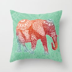 Zentangle Elephant (Red/Orange/Blue) Throw Pillow