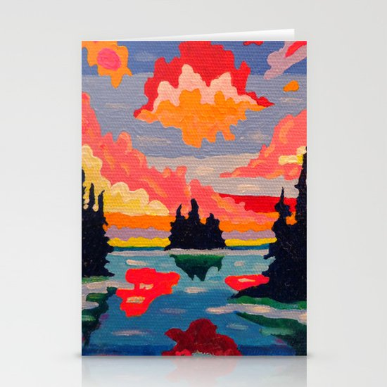 Northern Sunset Surreal  Stationery Card
