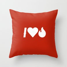I Love Fire Throw Pillow