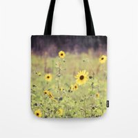 Sunny Meadow -- Yellow Wildflowers Botanical Landscape Tote Bag