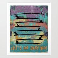 Let's Go Surfing! Art Print