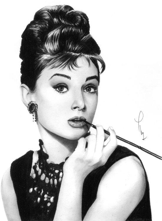 Audrey Hepburn Pencil drawing Canvas Print