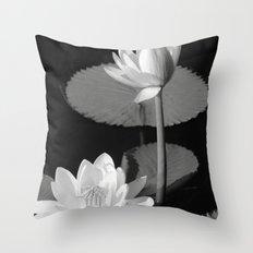 Black & White Lilypad Throw Pillow