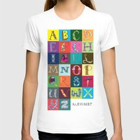 Hand Drawn Alphabet Womens Fitted Tee White SMALL