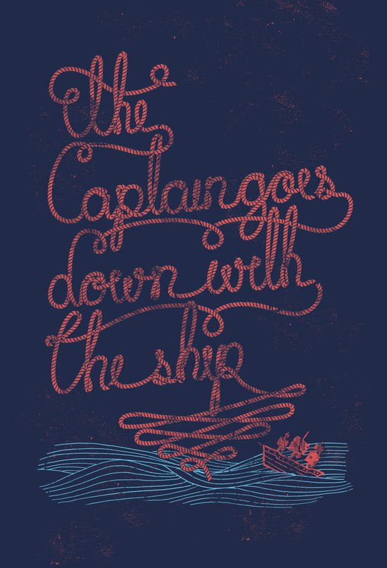 The Captain Goes Down With The Ship Art Print