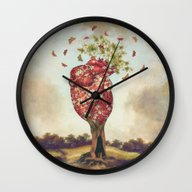Wall Clock featuring Love Tree by Paula Belle Flores