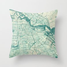 Amsterdam Map Blue Vintage Throw Pillow