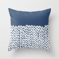 Half Knit Navy Throw Pillow