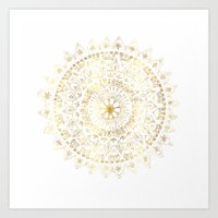 Gold Hand Drawn Mandala Art Print
