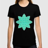 Verdigris Pearls Womens Fitted Tee Black SMALL