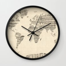Old Sheet Music World Ma… Wall Clock