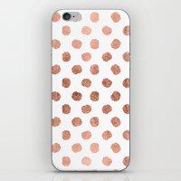 Stylish Rose Gold Polka … iPhone & iPod Skin