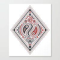 83 Drops - Diamonds (Red & Black) Canvas Print