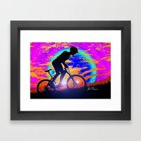 Mountain Bike Sunrise Framed Art Print