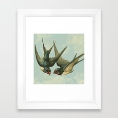 Vintage Swallow Pair Framed Art Print