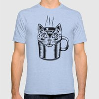 Coffee Cat Mens Fitted Tee Athletic Blue SMALL